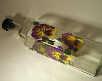 Hand Painted Pansy Oil Bottle