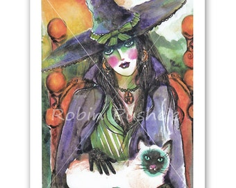 Colorful Witch and her Siamese,  Print, 7x10
