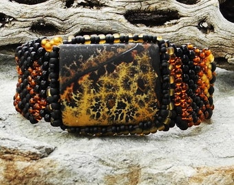 Jewelry - Free Form Peyote Stitch Beaded Bracelet  -  Stillness - Leopard Skin Jasper Cab - DISCOUNTED