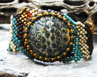 Jewelry - Free Form Peyote Stitch Beaded Bracelet  - Patience - Bead Weaving - Handmade Glass - DISCOUNTED