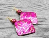Hand Painted Earrings, Fiber Earrings, Statement Earrings, Hot Pink Earrings, Big Earrings, Amara Hand Painted Fiber Earrings