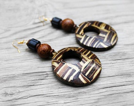 coconut shell earrings coconut wood earrings
