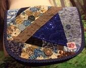 Messenger Bag Corduroy Hippie Tote Crossbody Patchwork Vintage Sling Purse Blue Navy Sparkle Sequins Hippy Retro by designer elyse oRiGiNaLs