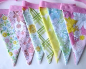 Vintage Floral Fabric Bunting Banner Party Decoration Nursery Decor or Photo Prop