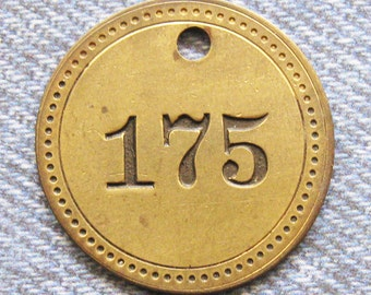 Painted Number 175 Brass Tag Motel Room Check Id Retro Antique Keychain Key Ring Fob Token