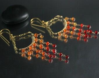 Mexican Fire Opal Earrings - Chandelier Earrings - Opal Earrings - MADE TO ORDER