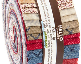 "40% Off + Free Ship SALE Jennifer Sampou Studio Stash 2 Roll Up 2.5"" Precut Fabric Strips Jelly Roll Robert Kaufman RU-355-40"