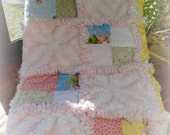 "Rag Quilt ""Twinkle Little Star"" Children's, Toddler, Baby Quilt    Shabby Cottage Chic"