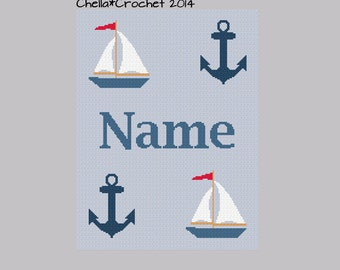 INSTANT DOWNLOAD Chella Crochet Personalize Sailboats Navy Naval Nautical Anchor Silhouette Afghan Crochet Pattern Graph