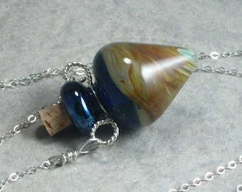 Lunar Landscape --- Lampwork Poison Bottle Necklace