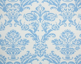 1950s Vintage Wallpaper by the Yard - Blue and White Damask
