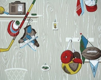 1950s Vintage Wallpaper by the Yard - Children's Sports Wallpaper with Hockey Football Baseball and Basketball Novelty Desigsn