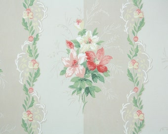 1940's Vintage Wallpaper - Floral Vintage Wallpaper - Pink and Yellow Flower Bouquet and Floral Stripe
