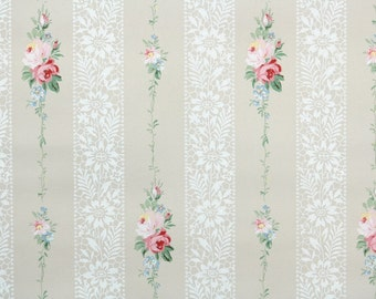 1940s Vintage Wallpaper - Pink Roses and Lace Stripes