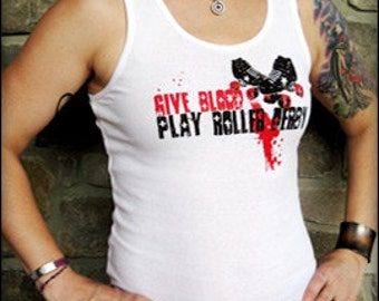 Give Blood, Play Roller Derby - Women's Tank