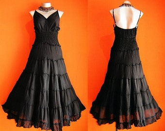 Long Black GYPSY PRINCESS Smock Maxi Dress Hippie Boho Gothic Size 16 18 20