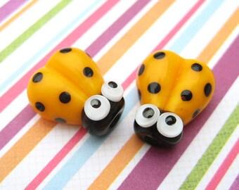 2 Glass Ladybug Beads - Lampwork Ladybug Beads - Glass Ladybugs - 14mm Beads - Yellow Ladybug - Yellow Ladybird - SRA Handmade Lampwork - U