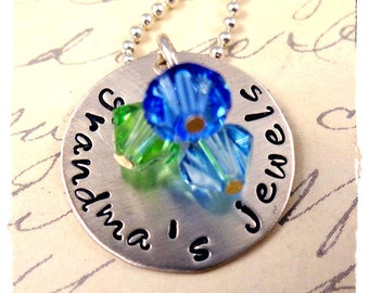 Grandma's Jewels Necklace - Personalized - Grandma Mommy Mother Jewelry -  Sterling Silver -Birthstone Crystals