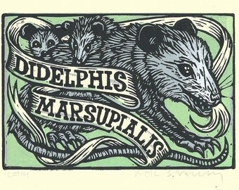 Art, Opossum ArtPrint, Opossum Linocut Art Print, animal wall decor, Possum Print, Linocut, Art, Wall Art
