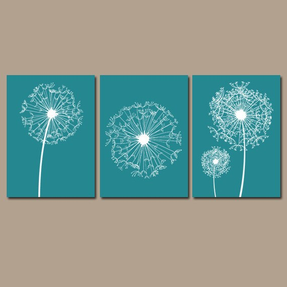 Light Blue Bathroom Wall Art Canvas Or Prints Blue Bedroom: DANDELION Wall Art CANVAS Or Prints Flower Teal Custom Colors