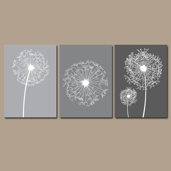 Bedroom Wall Art Grey: DANDELION Wall Art Gray Bedroom Pictures CANVAS Or By