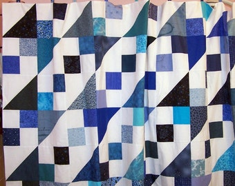 Blue and white shower curtain