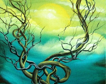 Original Art Landscape Painting 12 x 24  by  Angieclementine ENTANGLED