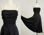 70s Vintage Black Rhinestone Straps Evening Dress / Size Small