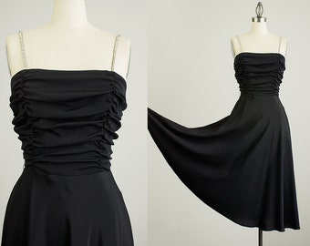 70s Vintage Black Rhinestone Straps Evening Dress / Size Small