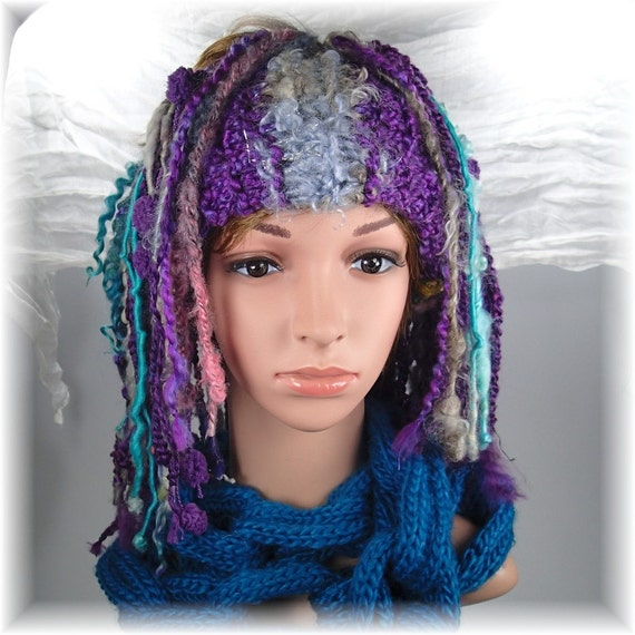 Knitting Pattern For Dreadlock Hat : knitted dreadlock headband hat cowl Purple Aqua hand spun yarn