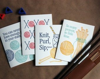 Yarn Card Set - letterpress (set of 4)