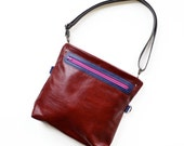 Leather Crossbody Bag, Leather Satchel, Leather Crossbody, Shoulder Bag, Leather Purse with Zippers  - The Abby Satchel in Oxblood Red