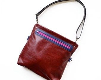 Womens Leather Crossbody Bag, Small Leather Purse, Womens Handbag, Small Crossbody Bag, Shoulder Bag  - The Abby Satchel in Oxblood Red