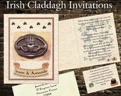 Sale qty 50 Irish Claddagh wedding party birthday handfasting invitations invites and RSVP Cards