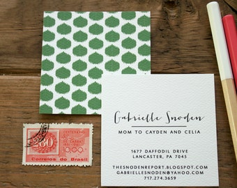 Round Ikat  Calling Cards / Business Cards/ Blogger Cards - Set (50)
