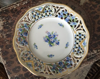 Schumann Arzberg Forget Me Not Chalet Plate Pierced 5 5/8 Inches Country Chic TYCAALAK
