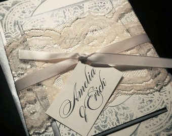 Shabby Chic Lace Wedding Invitation - Vintage Modern Wedding Invites, Ivory Champagne Silver - Lace Wedding Invitation - Sample or Deposit