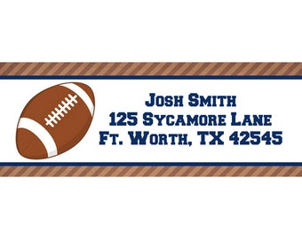 30 Personalized Return Address  Labels  - Football