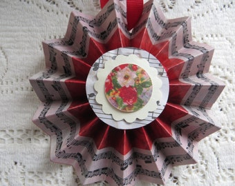 Handmade Victorian Valentine Decoration Cottage Chic Ornament Roses Flowers Red Roses with Music