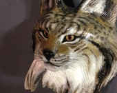 Lynx Mask Wood sculpture by Jason Tennant
