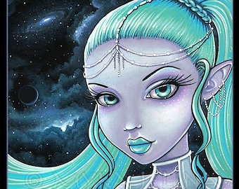 Celestial Star Fairy Space Watcher Asteria Limited Edition Canvas ACEO