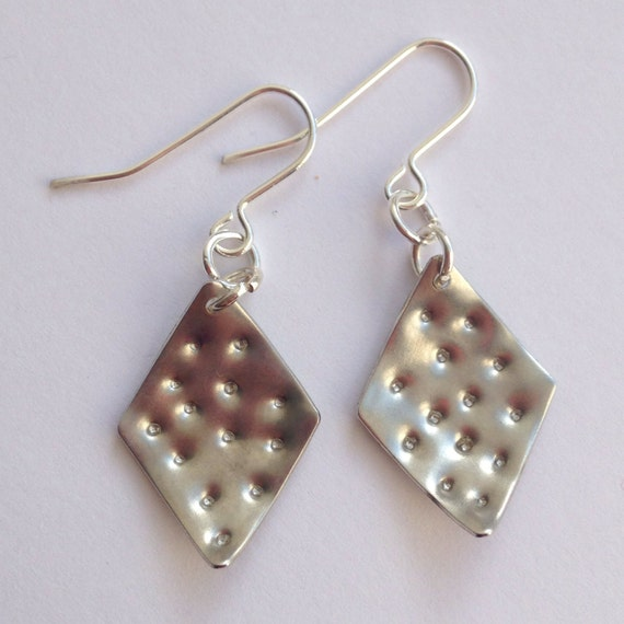 Diamond Shaped Punched Aluminium Earrings - Textured - Hammered - Festival - Gypsy - Folk - Frida Kahlo - Mexican - Punched - Silver - Gift
