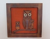 Mid Century Carved Wood Owl Family Retro Orange Owl Picture Hanging Cabin 1970s