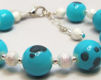Turquoise Spotted Glass Beads, Brushed Silver beads Bracelet