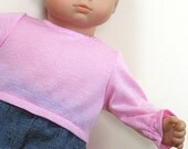Bitty or Twins Doll Clothes - Denim Pants and Pink Knit Top
