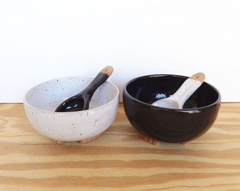 Black and White Condiment Bowls and Handmade Ceramic Spoons