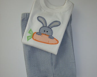 Easter Short Tshirt and Shorts set for Boys Bunny with Carrot Seersucker or Gingham
