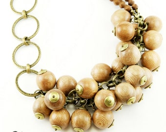Wood Bead and Antique Brass Ring Necklace (N51)