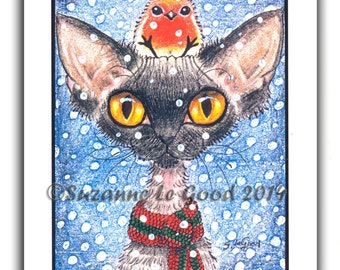 DEVON REX CAT Christmas Cards pack of 6  by Suzanne Le Good