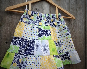 Blues and Greens and Yellows Patchwork Ruffled Tiered Girls Skirt